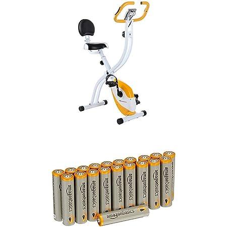 Ultrasport F-Bike 200B Vélo d'appartement pliant avec capteurs de pouls à la main, avec dossier, Orange avec les batteries Amazon Basics