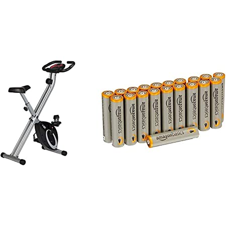 Ultrasport Vélo d'appartement F-Bike , Vélo de fitness pliable avec console et détecteurs manuels de pouls, Noir avec les batteries Amazon Basics