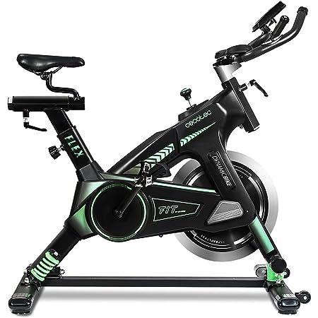 Cecotec Vélo Spinning Professionel Ultraflex 25, Système d'amortissement, Guidon de Triathlon, Cardiofréquencemètre