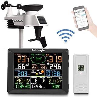 Station météorologique sans fil Sainlogic, station météo Internet WiFi intelligente avec grand écran couleur de 8 pouces, ...