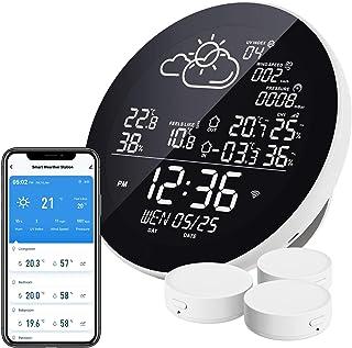 Station météo WLAN sans fil avec 3 capteurs extérieurs Thermomètre hygromètre Station météo sans fil compatible avec Smart...