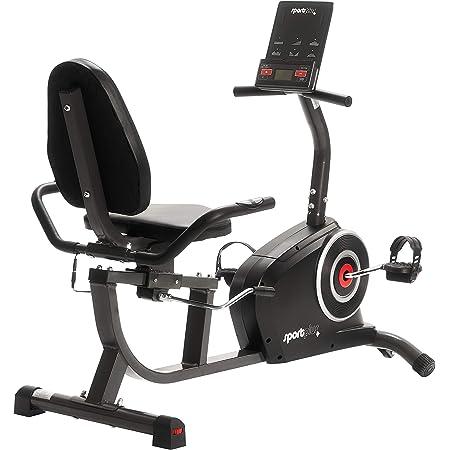 SportPlus ergomètre couché, 24 niveaux de résistance contrôlés par ordinateur, capteurs du pouls, poids d'utilisateur jusqu'à 110 kg, SP-RB-9500-iE