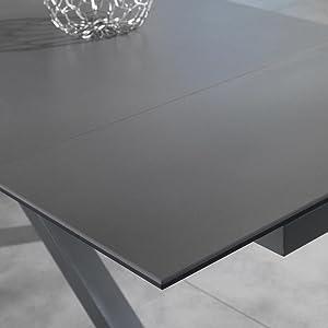 table extensible, table de qualité, table avec deux rallonges, table en céramique et verre